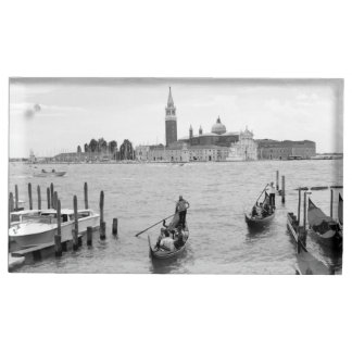 Black and White Gondola in the city of Venice Table Card Holder