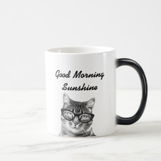 Black and white good morning message 11oz cat mug