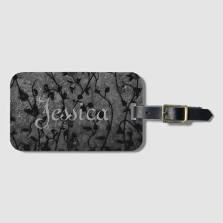 Black and White Gothic Antique Floral Luggage Tag