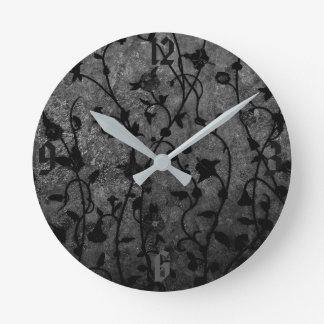 Black and White Gothic Antique Floral Round Clock