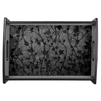 Black and White Gothic Antique Floral Serving Tray