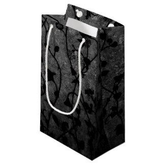 Black and White Gothic Antique Floral Small Gift Bag