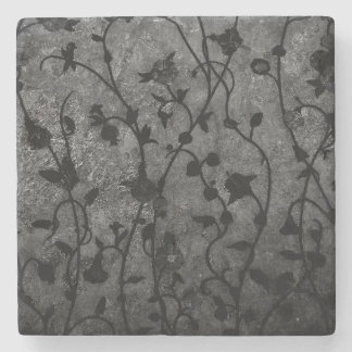 Black and White Gothic Antique Floral Stone Coaster