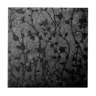 Black and White Gothic Antique Floral Tile