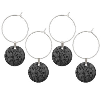 Black and White Gothic Antique Floral Wine Charm