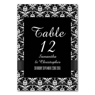 Black and white gothic damask card
