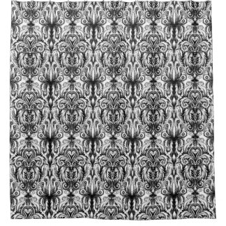 Black and white gothic damask shower curtain