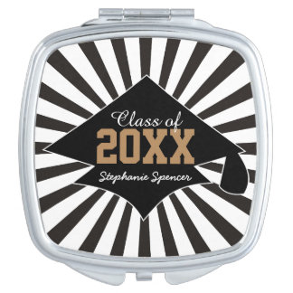 Black and White Graduation Class Year Compact Compact Mirror