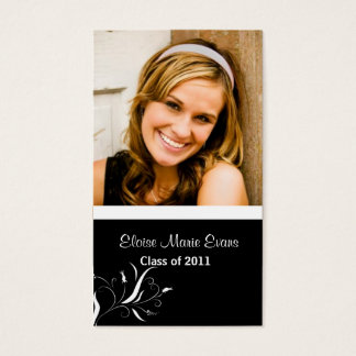 Black and White Graduation Rep card