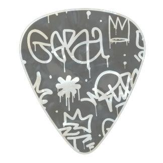 Black and White Graffiti pattern Pearl Celluloid Guitar Pick