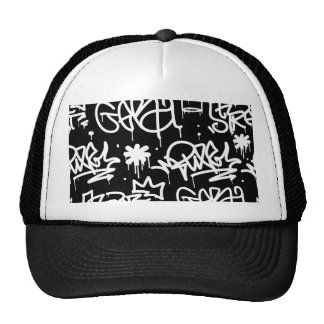 Black and White Graffiti pattern Trucker Hat