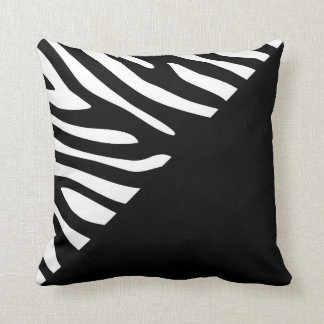 Black and White Graphic Zebra Half Pattern Throw Pillow
