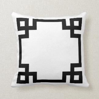 Black and White Greek Key Border Throw Pillow