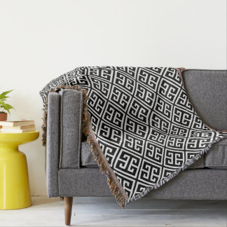 Black and White Greek Key Pattern Throw Blanket