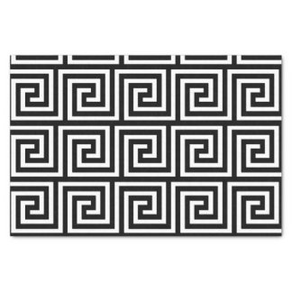 Black and White Greek Key Pattern Tissue Paper