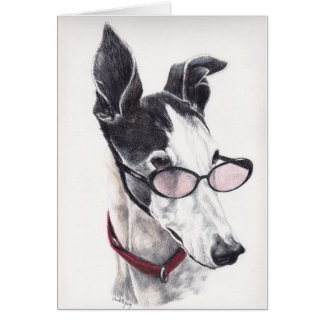 Black and White Greyhound Dog Art Note Card