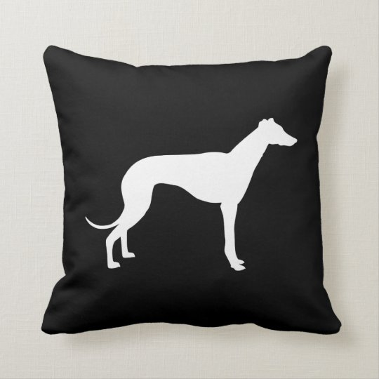 Black and White Greyhound Silhouette Both Sides Throw Pillow