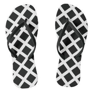 Black And White Grid Optical Illusion Pattern Flip Flops