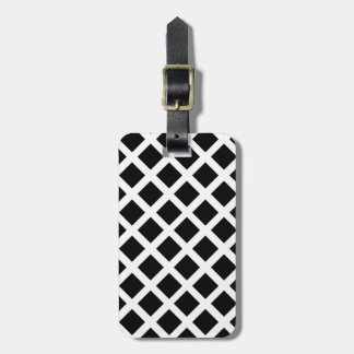 Black And White Grid Optical Illusion Pattern Luggage Tag