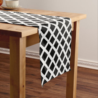 Black And White Grid Optical Illusion Pattern Short Table Runner