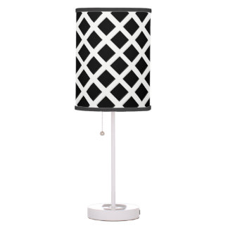 Black And White Grid Optical Illusion Pattern Table Lamp