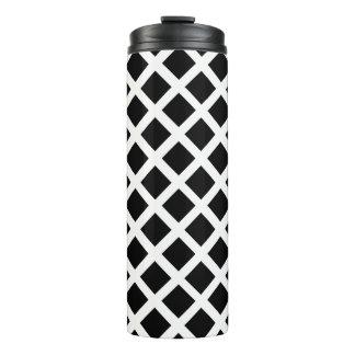 Black And White Grid Optical Illusion Pattern Thermal Tumbler