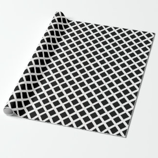 Black And White Grid Optical Illusion Pattern Wrapping Paper