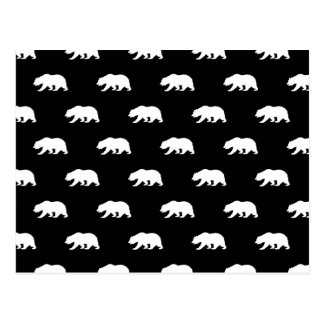 Black and White Grizzly Bear Pattern Postcard