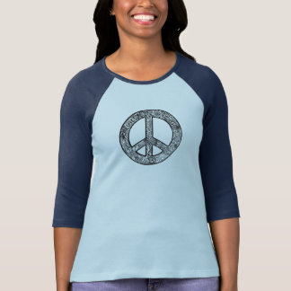 Black and White Groovy Peace Sign T-Shirt