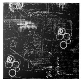 "Black and White Grung (6"" X 6"") Ceramic Photo Tile"