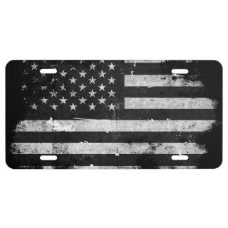 Black and White Grunge American Flag 1 License Plate