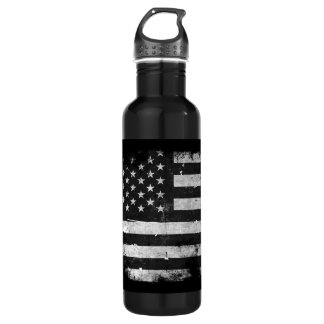 Black and White Grunge American Flag 710 Ml Water Bottle