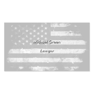 Black and White Grunge American Flag Double-Sided Standard Business Cards (Pack Of 100)