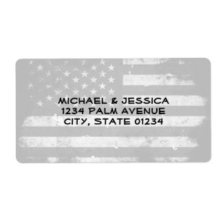 Black and White Grunge American Flag Shipping Label