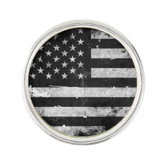 Black and White Grunge American Flag Lapel Pin