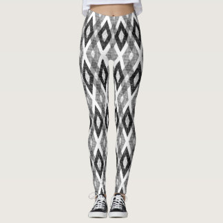Black and White Grunge Harlequin Pattern Leggings