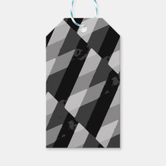 Black and White Grunge Striped Pattern Gift Tags