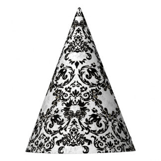 Black and White Grunge Toile Party Hat