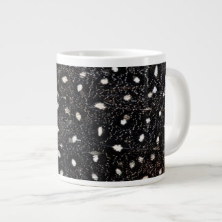 black and white guinea fowl feather large coffee mug