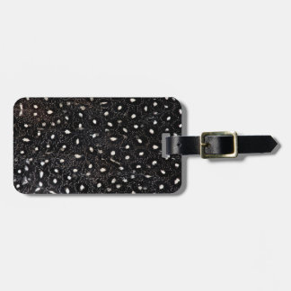 black and white guinea fowl feather luggage tag