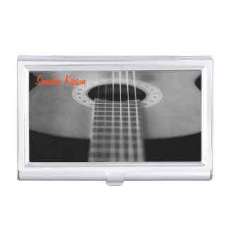 Black and White Guitar Business Card Holder