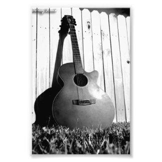 Black and White Guitar Photo Print