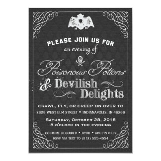 Black and White Halloween Classy Fancy Damask Card