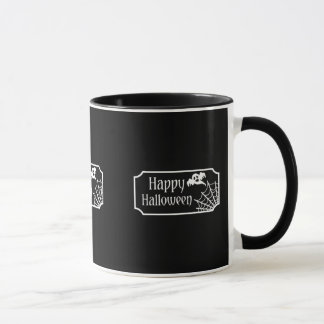 Black And White Halloween Ghost And Spiderweb Mug