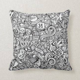 Black and White Halloween Illustration Throw Pillow