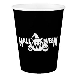 Black And White Halloween Pumpkins Paper Cup