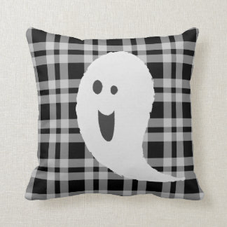 Black And White Halloween Spooky Smiley Ghost Throw Pillow