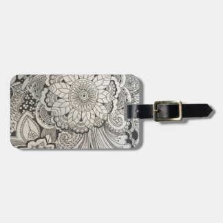 Black and White hand drawn floral Bag Tag
