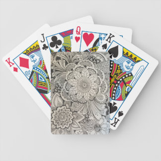 Black and White hand drawn floral Bicycle Playing Cards