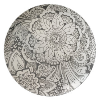 Black and White hand drawn floral Party Plate